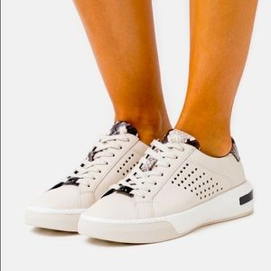 Michael Kors Codie Lace Up Cream Sneaker Leather
